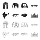 Country India black,outline icons in set collection for design.India and landmark vector symbol stock web illustration. Country India black,outline icons in set Royalty Free Stock Photography