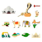 Country India cartoon icons in set collection for design.India and landmark vector symbol stock web illustration. Country India cartoon icons in set collection Stock Image
