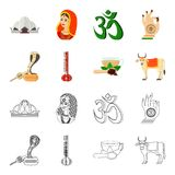 Country India cartoon,outline icons in set collection for design.India and landmark vector symbol stock web illustration. Country India cartoon,outline icons in Royalty Free Stock Photos