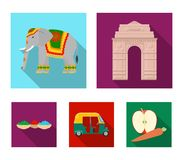 Country India flat icons in set collection for design.India and landmark vector symbol stock web illustration. Country India flat icons in set collection for Stock Photography