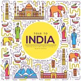 Country India travel vacation guide of goods, place and feature. Set of architecture, fashion, people, item, background. Concept. Infographic traditional ethnic Royalty Free Stock Photography
