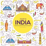 Country India travel vacation guide of goods, place and feature. Set of architecture, fashion, people, item, background. Concept. Infographic traditional ethnic Stock Image