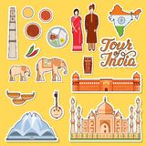 Country India travel. Vacation guide of goods, place and feature. Set of architecture, fashion, people, item, background concept. Infographic traditional ethnic royalty free illustration