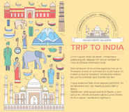 Country India travel vacation guide of goods, places and features. Set of architecture, fashion, people, items, nature Royalty Free Stock Photo