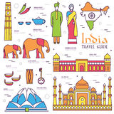 Country India travel vacation guide of goods, places and features. Set of architecture, fashion, people, items, nature. Background concept. Infographics Royalty Free Stock Photo