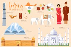 Country India travel vacation guide of goods, places and features. Set of architecture, fashion, people, items, nature. Background concept. Infographics Royalty Free Stock Photos