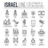 Country Israel travel vacation guide of goods, place and feature. Set of architecture, fashion, people, item, nature. Background concept. Infographic Royalty Free Stock Photo