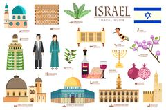 Country Israel travel vacation guide of goods, places and features. Set of architecture, fashion, people, items, nature. Background concept. Infographic Royalty Free Stock Image