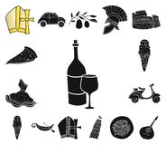 Country Italy black icons in set collection for design. Italy and landmark vector symbol stock web illustration. Country Italy black icons in set collection for royalty free illustration
