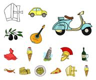 Country Italy cartoon icons in set collection for design. Italy and landmark vector symbol stock web illustration. Country Italy cartoon icons in set collection vector illustration