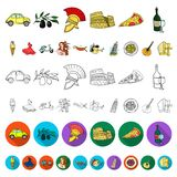 Country Italy cartoon icons in set collection for design. Italy and landmark vector symbol stock web illustration. Country Italy cartoon icons in set collection royalty free illustration