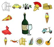 Country Italy cartoon icons in set collection for design. Italy and landmark vector symbol stock web illustration. Country Italy cartoon icons in set collection stock illustration