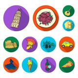 Country Italy flat icons in set collection for design. Italy and landmark vector symbol stock web illustration. Country Italy flat icons in set collection for royalty free illustration