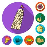Country Italy flat icons in set collection for design. Italy and landmark vector symbol stock web illustration. Country Italy flat icons in set collection for vector illustration