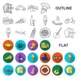 Country Italy flat icons in set collection for design. Italy and landmark vector symbol stock web illustration. Country Italy flat icons in set collection for stock illustration