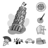 Country Italy monochrome icons in set collection for design. Italy and landmark vector symbol stock web illustration. Country Italy monochrome icons in set royalty free illustration
