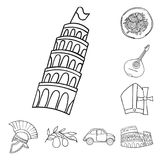 Country Italy outline icons in set collection for design. Italy and landmark vector symbol stock web illustration. Country Italy outline icons in set collection vector illustration