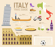 Country Italy travel vacation guide of goods, places and features. Set of architecture, fashion, people, items, nature Royalty Free Stock Image