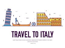 Country Italy travel vacation of place and feature. Set of architecture, item, nature background concept. Infographic. Traditional ethnic flat, outline, thin Stock Photography