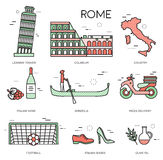 Country Italy trip guide of goods, places in thin lines style design. Set of architecture, fashion, people, items Royalty Free Stock Image