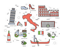 Country Italy trip guide of goods, places in thin lines style design. Set of architecture, fashion, people, items Stock Photography