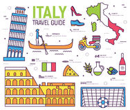 Country Italy trip guide of goods, places in thin lines style design. Set of architecture, fashion, people, items Royalty Free Stock Photos