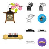 Country Japan cartoon,black,flat,monochrome,outline icons in set collection for design.Japan and landmark vector symbol. Stock  illustration Royalty Free Stock Image
