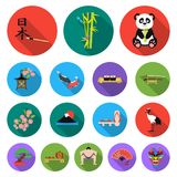 Country Japan flat icons in set collection for design.Japan and landmark vector symbol stock web illustration. Royalty Free Stock Photos