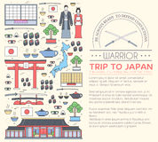 Country Japan travel vacation guide of goods, places and features. Set of architecture, fashion, people, items, nature Royalty Free Stock Photo