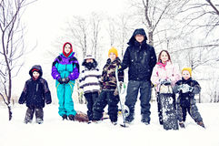 Country kids Snow Day Royalty Free Stock Photos