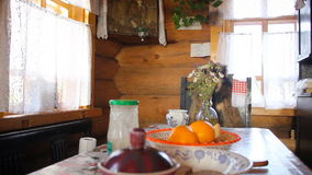 2 in 1: Country kitchen, big table in village house. HD. stock video footage
