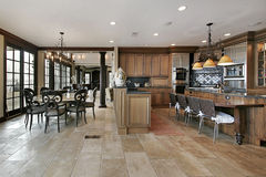 Country kitchen in luxury home. With eating area Stock Photography