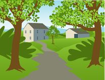 Country Landscape. Illustration of a country scene with a farm house and barn Royalty Free Stock Images