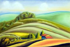 Country landscape. Tuscany landscape, Italy. Hand painted illustration Royalty Free Stock Images