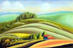 Country landscape. Tuscany landscape, Italy. Hand painted illustration royalty free illustration