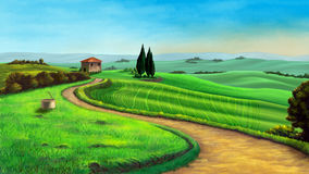 Country landscape. In Tuscany, Italy, at sunset. Digital illustration Royalty Free Stock Photo