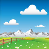 Country Landscape. A Country Landscape with Mountains Stock Photo