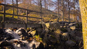 Country landscape in autumn. Small wood pedestrian bridge over a stream in an autumnal country landscape stock video footage
