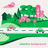 Country landscape background of green cardboard figures Stock Image