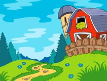 Country landscape with barn vector illustration