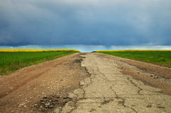 Country landscape with broken road. Stock Photography