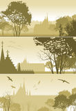 Country Landscape with Church and Trees. Three illustrations of country Landscape with Church and Trees Stock Image