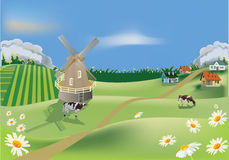 Country landscape with cows on field Royalty Free Stock Photo