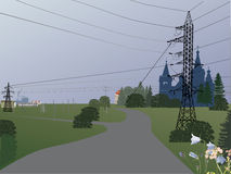 Country landscape with electric line Royalty Free Stock Photo
