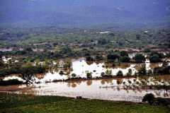 Country landscape flooded after heavy rains Stock Photography