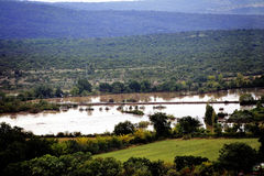 Country landscape flooded after heavy rains Royalty Free Stock Photography