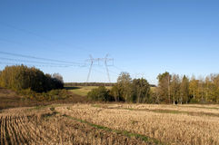 Country landscape with high-voltage line Stock Photo