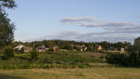 Country Landscape. With houses and vegetable gardens. In the background is forest Stock Photo