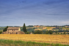 Country landscape in Marches (Italy). At summer: old farm Stock Images