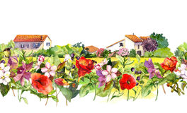 Country landscape with meadow flowers, grass, herbs. Watercolor floral border - idyllic rural houses scene. Repeating Stock Image